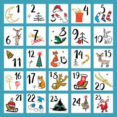 Christmas advent calendar with hand drawn design elements. Diy Holiday Cards, Homemade Christmas Cards, Printable Christmas Cards, Funny Christmas Cards, Vintage Christmas Cards, Countdown Calendar, Advent Calendar, Christmas Quiz, Watercolor Christmas Cards