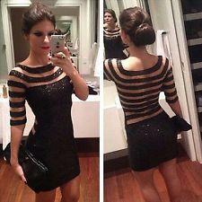 New Women Sequins Bodycon Slim Cocktail Clubwear Evening Party Mini Short Dress