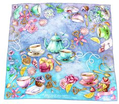 """100% silk scarf turquoise lilac blue square """"Believe"""""""