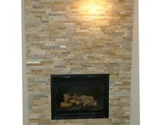 Stacked stone fireplace WANT THIS NOW