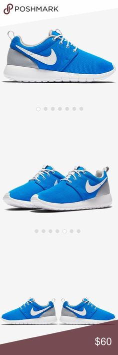Nike Roshe One | NEW IN BOX! Big Kids (5.5) translates perfectly to a women's size 7. Color : Photo Blue/Wolf Grey/White Guaranteed authentic. Bought directly from Nike.Com. SOLD OUT. Nike Shoes Athletic Shoes