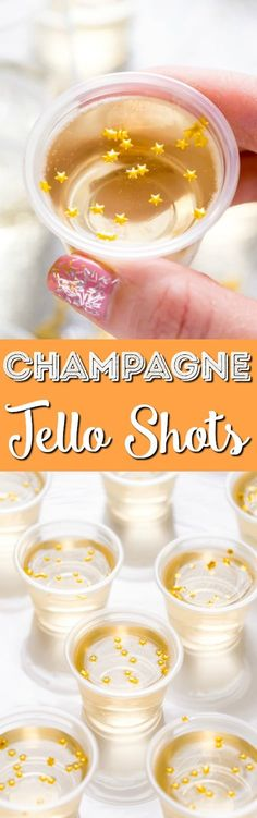 These Champagne Jello Shots are made with champagne, ginger ale, lemon juice, sugar, and gelatin and are so easy to whip up for your New Year's Eve and other celebrations!
