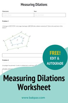 This free Measuring Dilations Geometry worksheet with answers is fully customizable and autogradable with Bakpax! Better yet, students can complete it online or on paper. Check out more standards-aligned math assignments like this one at bakpax.com. Middle School, High School, Geometry Worksheets, Terms Of Service, Students, Classroom, The Unit, Math, Learning