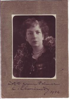 """CHAMINADE, CÉCILE. Photograph Signed and Inscribed, """"à Mlle Yvonne Pelsencer / C. Chaminade / 1934,"""""""