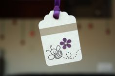 Bee with Purple Flower Tags  Set of 6 by hatchedfromscratch, $3.50