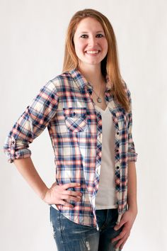 Navy And Coral Plaid Button Down #May23Online