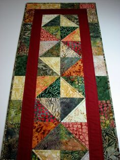 Quilted Table Runner , Autumn Tones , Cotton Batiks , Reversible by VillageQuilts on Etsy