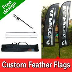 Get free design or upload your own file to create your custom feather flags, custom beach flags, custom swooper flags.