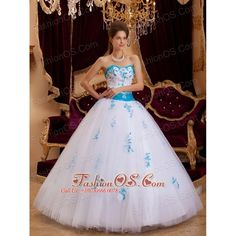 Best White Sweet 16 Dress Sweetheart Tulle Appliques A-line / Princess ($191) via Polyvore