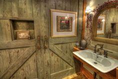 "Rustic Powder Room with Hudson Valley Jefferson  17"" High Wall Sconce, Wood counters, Wall sconce, Powder room, Barn door"
