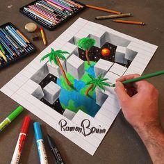 Anamorphotische Zeichnungen verwandeln gewöhnliche Papierstücke in Ilusão, a palavra em Gedanken verwandeln 3d Art Drawing, Paper Drawing, Realistic Drawings, Drawing Skills, Love Drawings, Pencil Drawings, Drawing Ideas, Illusion Kunst, Illusion Drawings