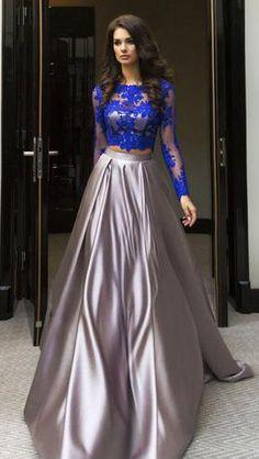 Elegant Blue Two Piece A-line Scoop Long Sleeve Elastic Satin Floor-Length Prom Dresses UK,#longsleeves,#blue,#grey,#elegant,#promdressuk,#prom,#dress,#longdress