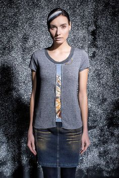 DANIELA DALLAVALLE - #danieladallavalle #collection #fw17 #elisacavaletti #woman #chick #sweater #fashion #details #detailsmatter #art #skirt #jeanskirt