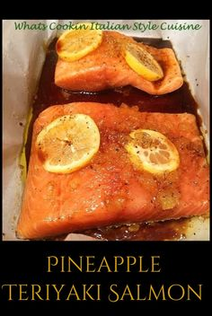 this is a piece of Pineapple Teriyaki Salmon it has crushed pineapple lemons and in an Asian style sauce cooked in parchment paper with seasonings