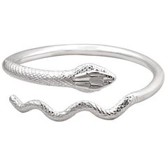 Silver Snake Bracelet ❤ liked on Polyvore featuring jewelry, bracelets, rings, pulseras, silver jewellery, silver bangles, snake jewelry, snake bangle and silver jewelry