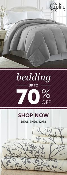 Sign up to shop bedding up to 70% off. Reinvent your space with these trend-right finds for the bedroom. And the best part? You won't have to wait long for these fabulous finds to arrive! Browse our collection of solid and patterned sheets, quilts, comforters, blankets, and more. Deal ends 12/13.