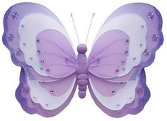 """Amazon.com: 13"""" Large Purple & White Triple Layered Butterfly Decorations - butterflies hanging nylon nursery bedroom girls room ceiling wall decor, wedding birthday party baby bridal shower: Home & Kitchen"""