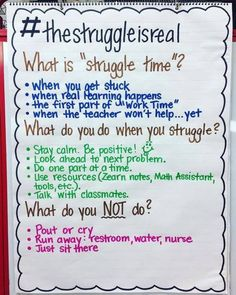 Struggle time... awesome idea to teach students School Counseling, Classroom Management, Class Management, Behavior Management, Middle School Procedures, Math Posters Middle School, Middle School Management, Fourth Grade, Third Grade