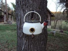 OOAK Birdhouse made from found/recycled items including a vintage tea pot… Teapot Birdhouse, Bird Houses Diy, Bird Boxes, Garden Crafts, Vintage Tea, Yard Art, Bird Feathers, Beautiful Birds, Tea Pots