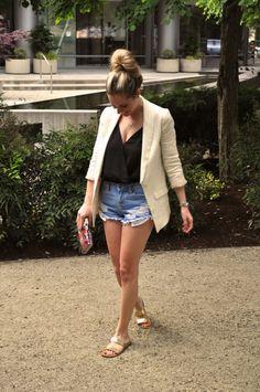 849caccabd9cf jean shorts and white blazer black bodysuit