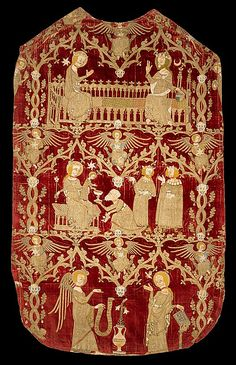 """Red velvet chasuble of 1330-50... [showing] the Coronation of the Virgin, the Adoration of the Kings and the Annunciation, all worked in silk and gold thread mainly in split-stitch and underside couching."""