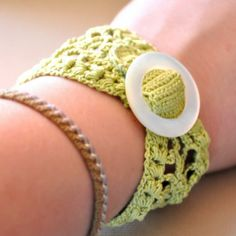 Lace Cuff with Vintage Buckle in Lime Green - MADE TO ORDER