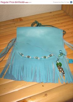 Sky Bear Hippie Fringed Leather IPhone by LeatherWearableArt