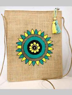 Jute Tote Bags, Tote Bags Handmade, Jute Fabric, Fabric Bags, Hand Embroidery Designs, Embroidery Stitches, Fabric Paint Designs, Jute Crafts, Painted Bags