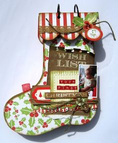 Use cricut to cut out the stockings, add scallop and rings.