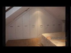 Fitted Wardrobes Sloping Loft Room White Slab { timelapse video before and after } Fitted Bedroom Furniture, Fitted Bedrooms, Furniture Sets, Wood Shingles, Roofing Shingles, Steel Roofing, Terrace Building, Modern Roofing, Fitted Wardrobes