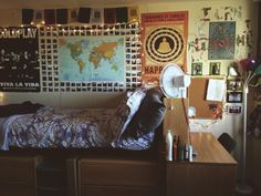 It's amazing what you can do with a small space! Here's a dorm room of a friend at Boston University! It's all about covering that wall space! #college #dormdecor