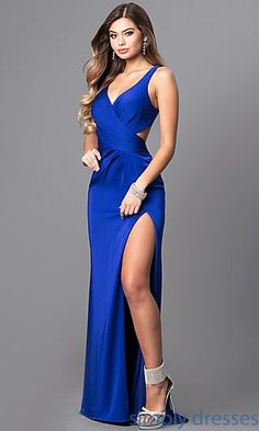 Shop Faviana royal blue prom dresses at PromGirl. Formal open-back designer dresses in blue satin and v-neck royal blue evening dresses with cut outs, pleats, and trains. Royal Blue Evening Dress, Royal Blue Prom Dresses, Blue Evening Dresses, V Neck Prom Dresses, Sexy Dresses, Blue Dresses, Beautiful Dresses, Prom Gowns, Dress Prom