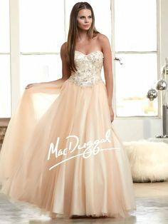Nude Ball Gown   Princess Prom Dress   Mac Duggal 48207H