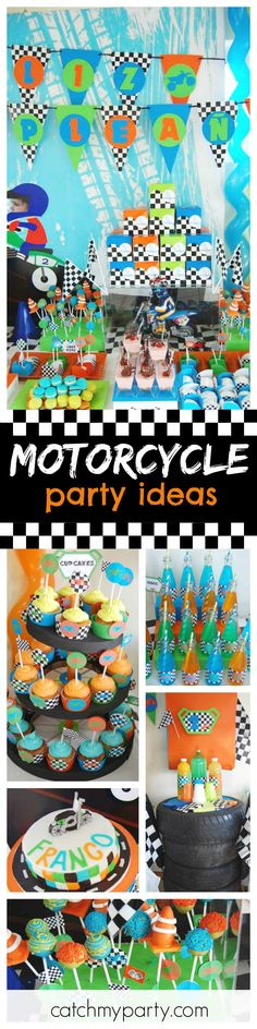 Check out this awesome Motorcycle birthday party! The racing dessert table and backdrop are so awesome!! See more party ideas and share yours at CatchMyParty.com