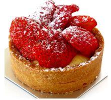 Vanilla Strawberry Tart - Vanilla Custard and Baked Almond Sweet Dough. www.cassis.co.za Strawberry Tart, Sweet Dough, Vanilla Custard, Tarts, Almond, Cheesecake, Good Food, Make It Yourself, Desserts