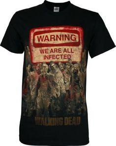 Amazon.com: The Walking Dead Warning Sign Men's T-Shirt, Black, Small: Clothing