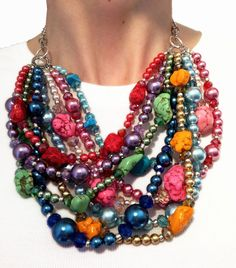 Big bright stones make an awesome statement necklace!     http://www.etsy.com/listing/98165046/classic-statement-necklace-rainbow-pink