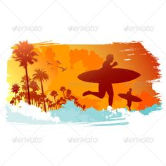 Peoples at the beach with surfing boards.  Vector illustration.  Ai, Eps, Psd and Jpeg files.