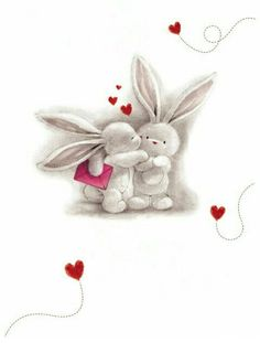 ♥ Love means truly communicating - heart to heart and with kindness toward each other♥ by phone, skype, email, presents and letters. most of all - hugs & kisses directly given Bunny Art, Cute Bunny, Cute Images, Cute Pictures, Animal Drawings, Cute Drawings, Tatty Teddy, Cute Illustration, Digital Scrapbooking