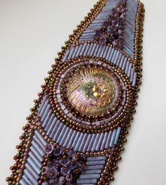 Love the colors! Bead Embroidery Bracelet   OOAK    Seed bead bracelet by Vicus, $125.00
