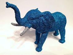 Blue glitter elephant with silver tusks!