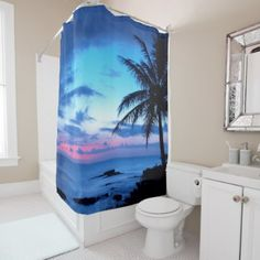 Tropical Island Beach Ocean Pink Blue Sunset Photo Shower Curtain - stylish gifts unique cool diy customize