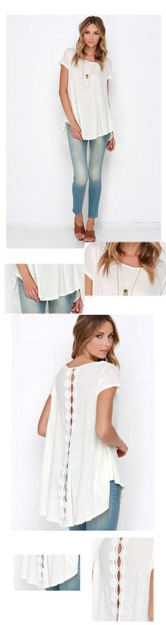 White Short Sleeve With Lace High Low T-shirt
