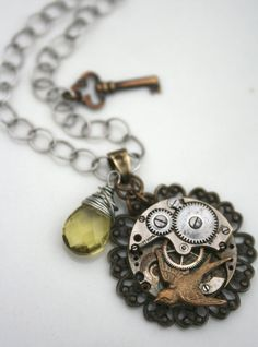 A unique vintage watch movement topped with a antiqued brass sparrow! Starting bid $12 >>> http://handmadeology.com/liveauctions
