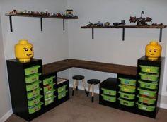 Lego storage table / desk using ikea trofast . Lego storage table / desk using ikea trofast … bedroom storage Lego Table Ikea, Lego Table With Storage, Lego Desk, Table Desk, Lack Table, Corner Table, Ikea Storage, Bedroom Storage, Storage Ideas