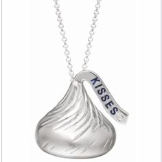 "Hershey's Kisses .925 flat back necklace. Adorable ""Hershey's Kisses"" .925 Sterling Silver, Rhodium-plated, flat back necklace with .004 diamond accent. Adjustable Sterling Silver chain 16-18"". Pendant is 15.00 x 16.00 mm. Very popular with celebs and is presently sold out! Comes in cute box and would make a great gift (or gift for yourself!) You won't find this cheaper anywhere. Jewelry Necklaces"