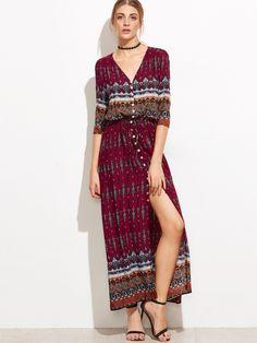 Burgundy Tribal Print V-Neck Button Front Dress
