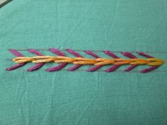 fly stitch with chain stitch - hand embroidery