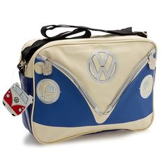 Camper Deluxe Shoulder Bag-Blue - Features two functional zippered pockets on the front, and seatbelt-like adjustable strap. - Interior is fully lined in wipe able, black material with 2 zip pockets,