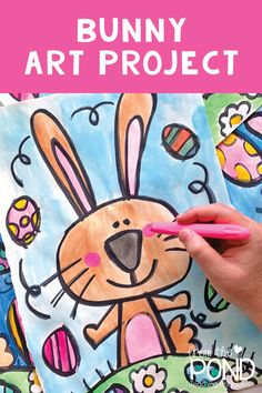 Easter Bunny Directed Drawing - Combine Look Bunny Drawing, Bunny Art, Drawing For Kids, Pond Drawing, Classroom Art Projects, Art Classroom, Easter Activities, Art Activities, Easter Art